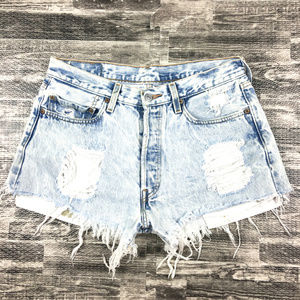 Levis 501 Jeans Acid Wash High Waist Shorts